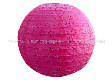 China Round Pink Blue Eyelet Paper Lantern , multi colored paper lanterns for bedrooms distributor
