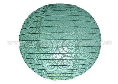 China Eyelet Lace Look  Round Paper Lanterns with lights For Party Decoration , Wedding distributor