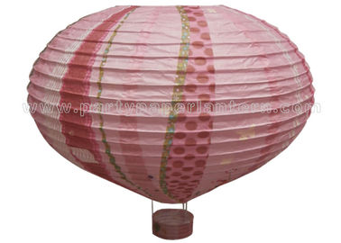 China Hot - air Balloon Unique Shaped Paper Lantern With Luminous Customized Printing distributor