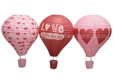 China Heart Printing Unique Shaped Paper Lantern Hot - air Balloon Customized Lovely distributor