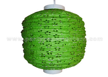 China 100% Handmade Eyelet Paper Lanterns wedding decorations Green silver white Color distributor
