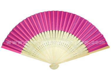 China Single Color Printed Hand Held Pink Paper Fans for Weddings , Birthday Celebrations distributor