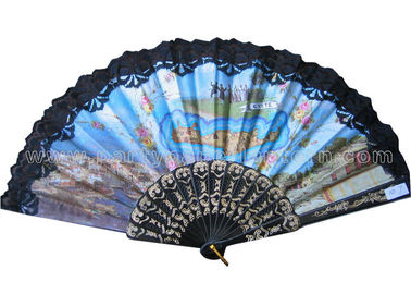 China Costom Printed Lace Hand Fans for Wedding with Scenic Spot  Design distributor