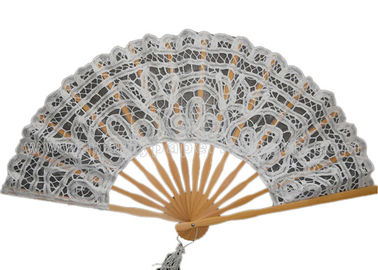 China Personalized Cotton Lace Hand Fans Lace Wedding Fans Custom Printed distributor