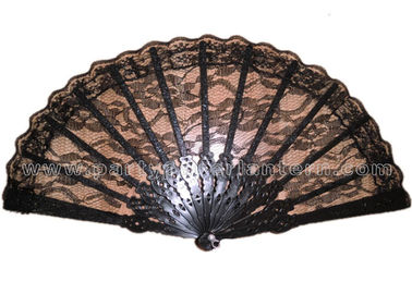 China Elegant Black Lace Hand Fans distributor