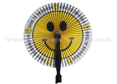 China Smiling Face Printed Accordion circle paper fans for reception , banquet , picnic distributor