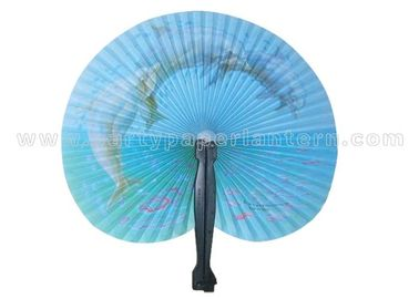 China Promotion , Gifts , Souvenir Esthetical Paper Folding Fans black red and blue color distributor