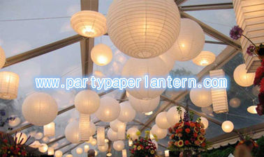 China White Collection Round / Unique Shaped Paper Lanterns , SGS CE Approved distributor