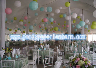 China Rose Green Yellow Hanging Paper Lanterns For Birthday Party / Room Decoration Gently distributor