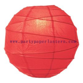 China Poppy Red Paper Lantern For Parties , Round Decorative Lanterns For Wedding Centerpieces distributor
